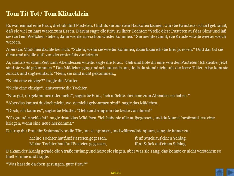 Tom Tit Tot / Tom Klitzeklein