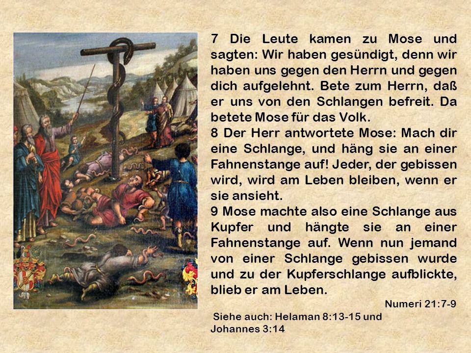 7 Die Leute kamen zu Mose und sagten: Wir haben gesündigt, denn wir haben uns gegen den Herrn und gegen dich aufgelehnt. Bete zum Herrn, daß er uns von den Schlangen befreit. Da betete Mose für das Volk.