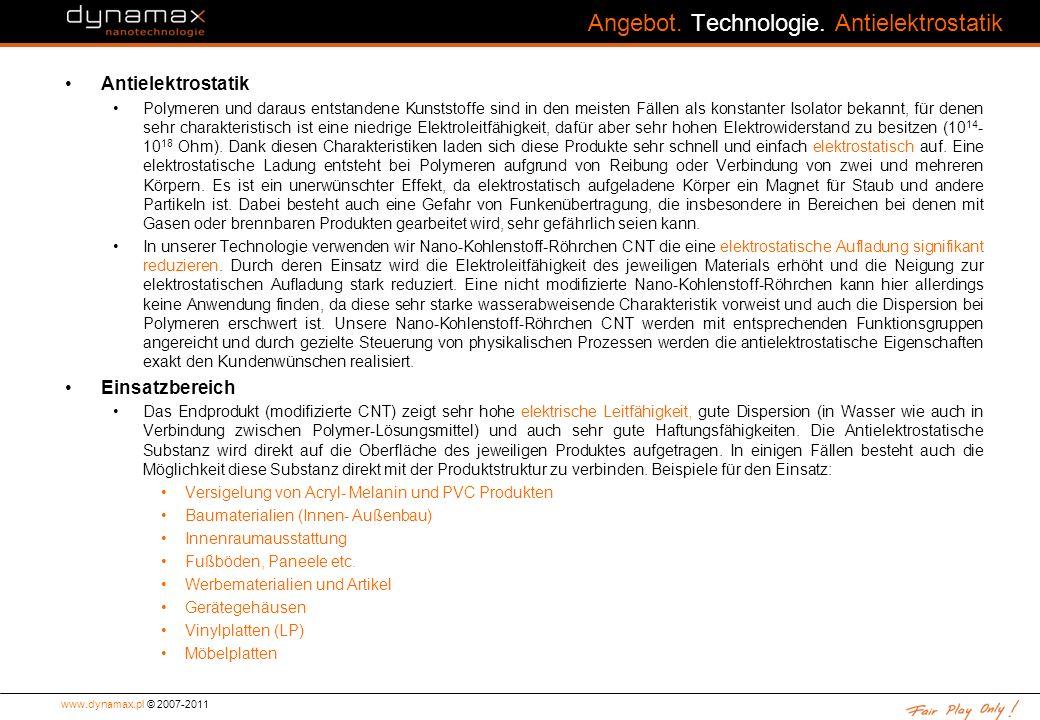 Angebot. Technologie. Antielektrostatik