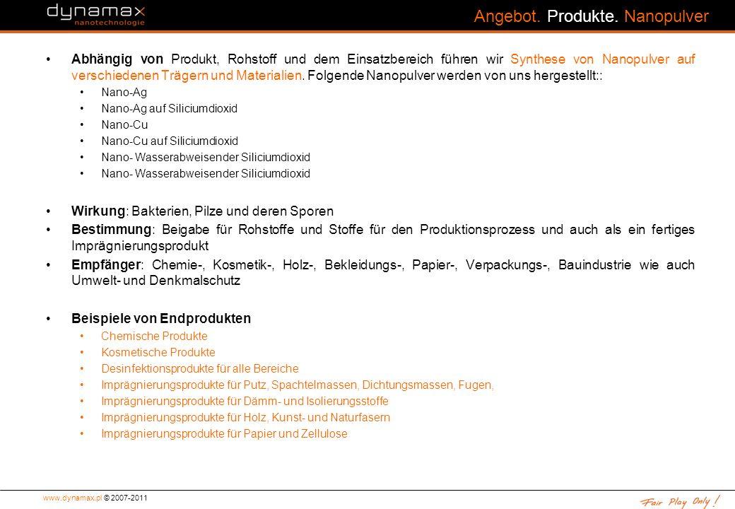 Angebot. Produkte. Nanopulver