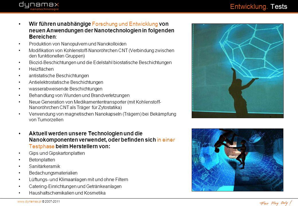 Entwicklung. Tests Wir führen unabhängige Forschung und Entwicklung von neuen Anwendungen der Nanotechnologien in folgenden Bereichen: