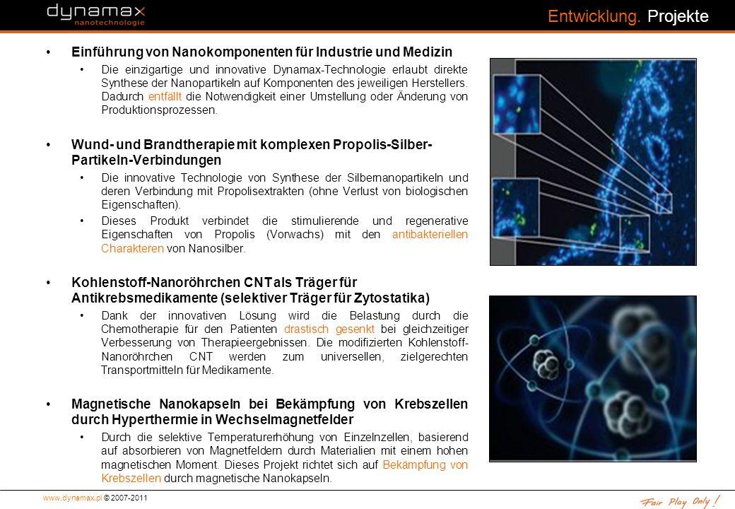 Entwicklung. Projekte Einführung von Nanokomponenten für Industrie und Medizin.