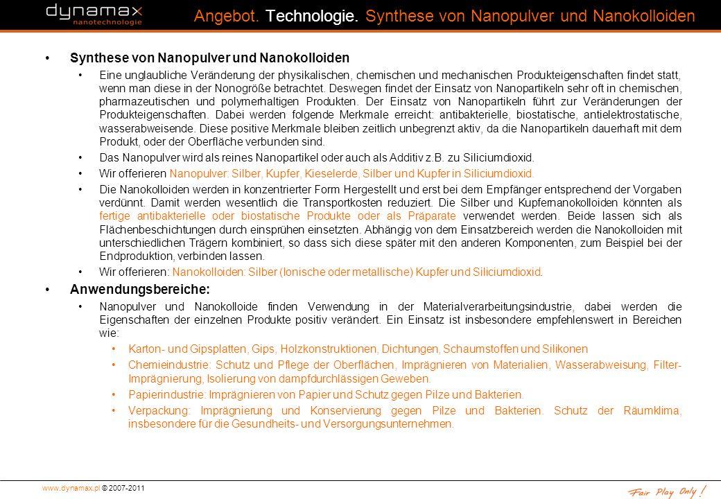 Angebot. Technologie. Synthese von Nanopulver und Nanokolloiden
