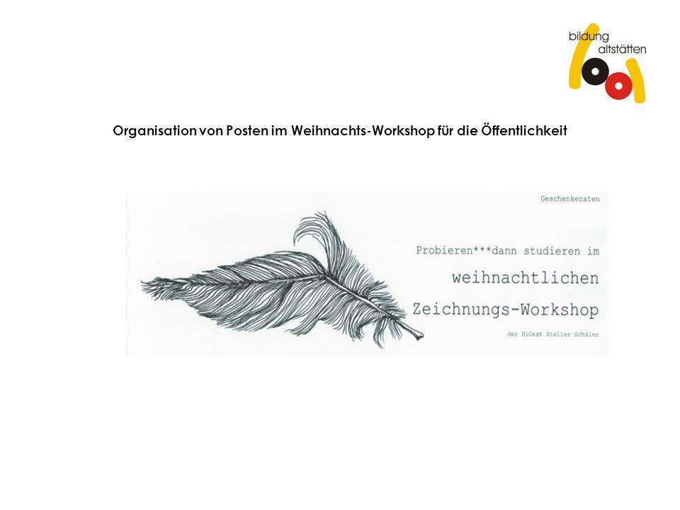 Organisation von Posten im Weihnachts-Workshop für die Öffentlichkeit