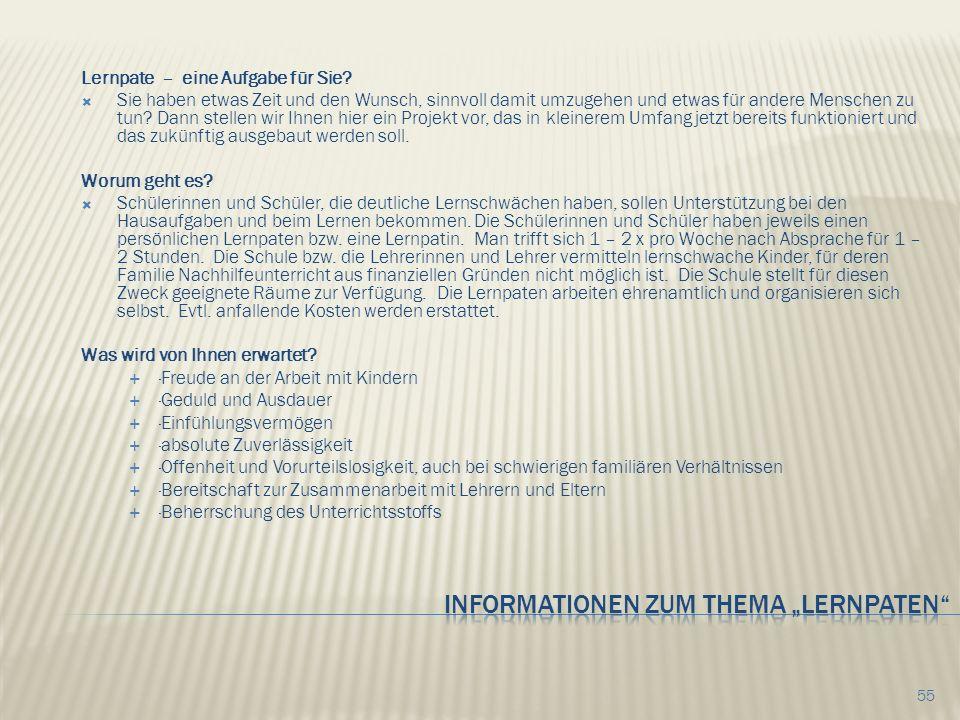 """Informationen zum Thema """"Lernpaten"""