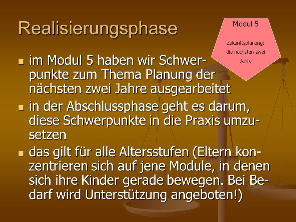 Realisierungsphase Modul 5. Zukunftsplanung: die nächsten zwei. Jahre.