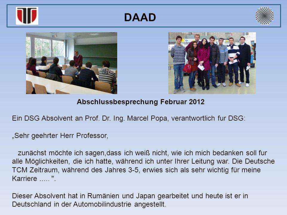 Abschlussbesprechung Februar 2012