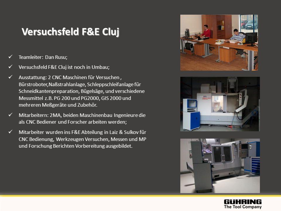 Versuchsfeld F&E Cluj Teamleiter: Dan Rusu;