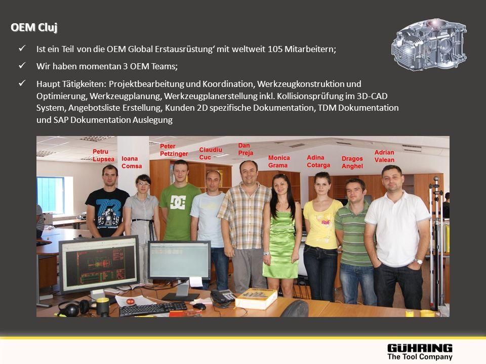 OEM Cluj Ist ein Teil von die OEM Global Erstausrüstung' mit weltweit 105 Mitarbeitern; Wir haben momentan 3 OEM Teams;