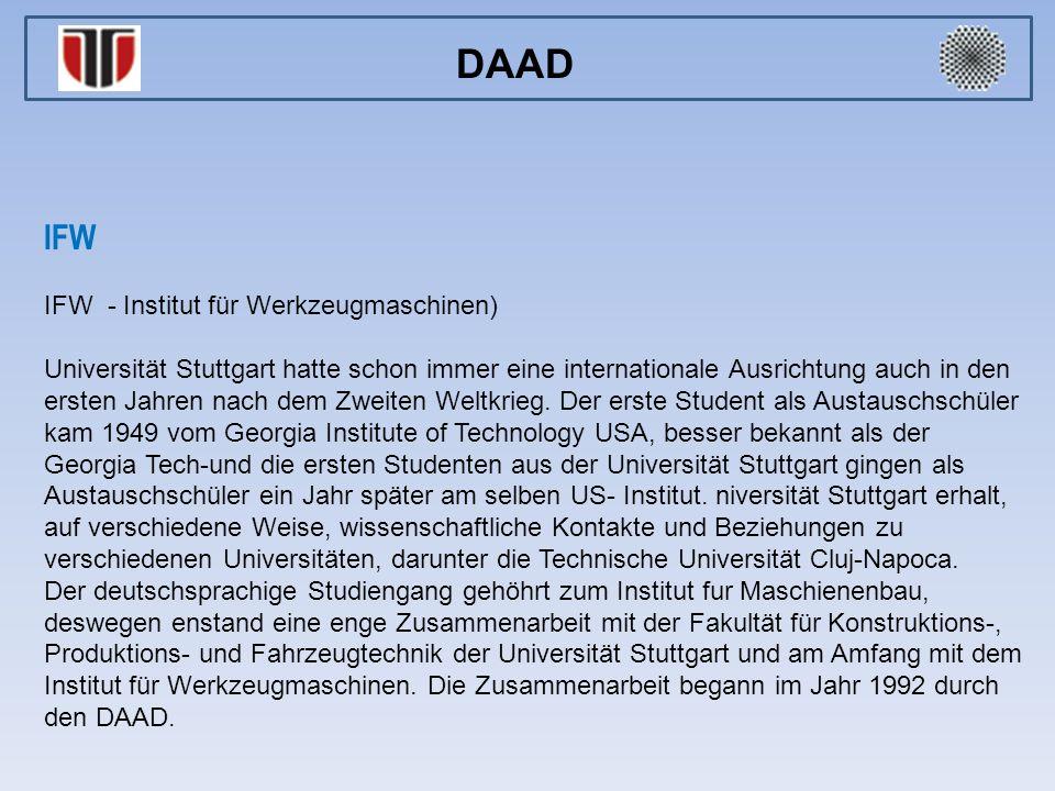 DAAD IFW IFW - Institut für Werkzeugmaschinen)