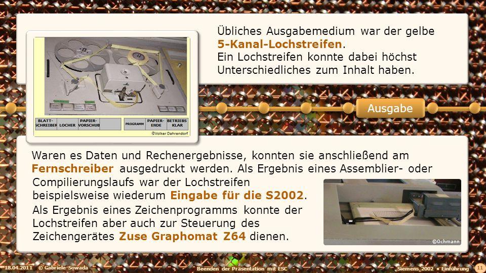 Übliches Ausgabemedium war der gelbe 5-Kanal-Lochstreifen