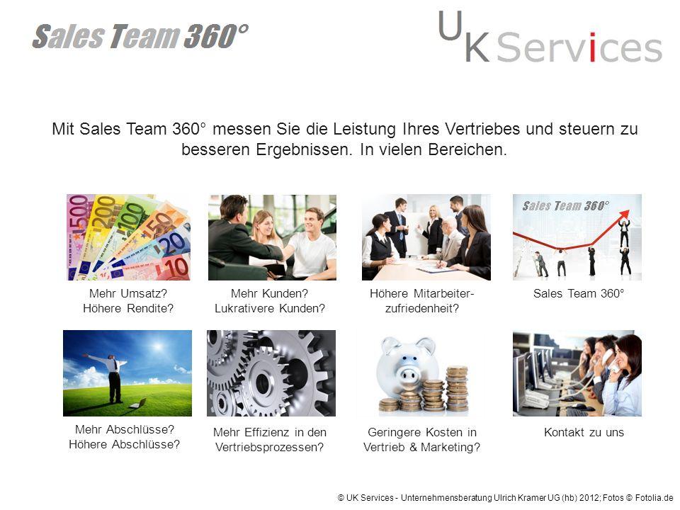 Mit Sales Team 360° messen Sie die Leistung Ihres Vertriebes und steuern zu besseren Ergebnissen. In vielen Bereichen.