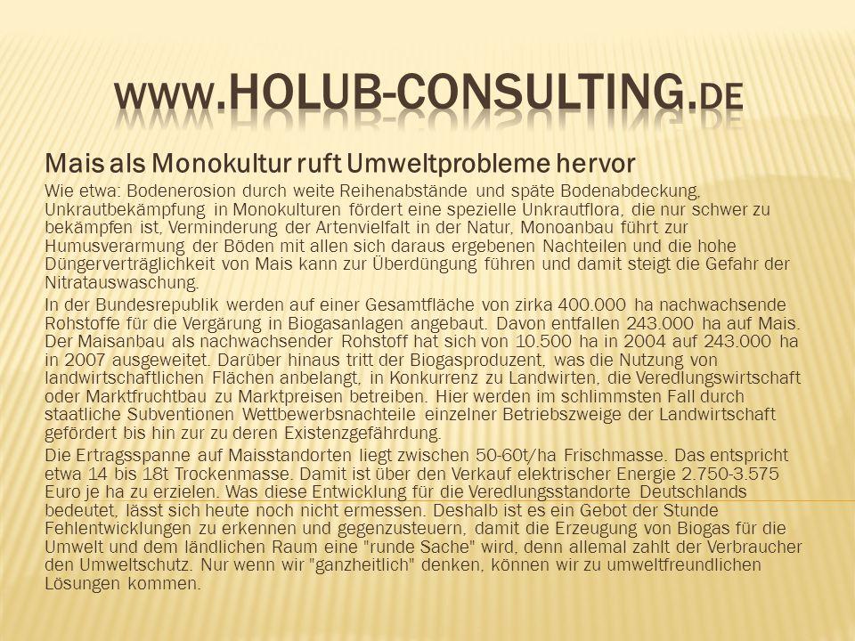 www.Holub-consulting.de Mais als Monokultur ruft Umweltprobleme hervor