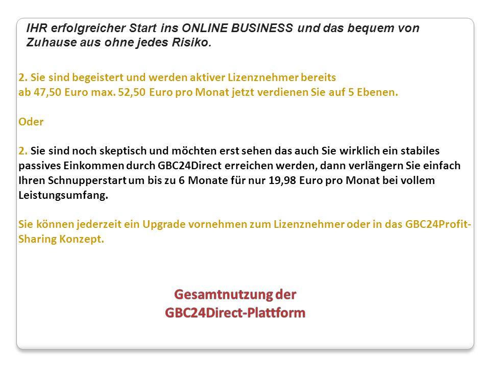 Gesamtnutzung der GBC24Direct-Plattform