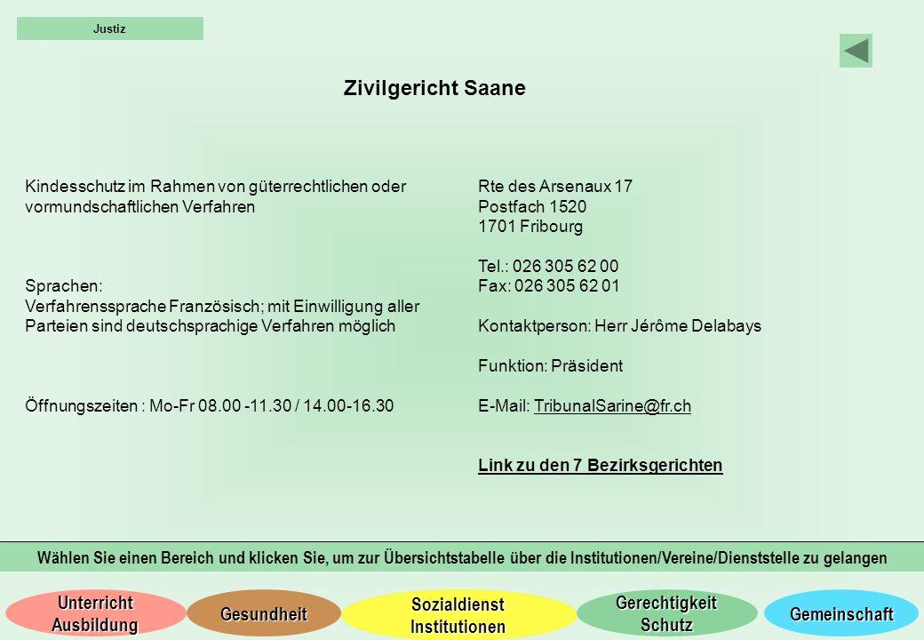 Justiz Zivilgericht Saane. Kindesschutz im Rahmen von güterrechtlichen oder vormundschaftlichen Verfahren.