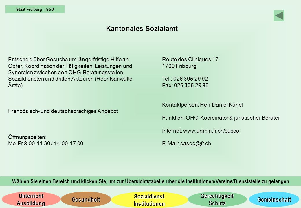 Staat Freiburg - GSD Kantonales Sozialamt.