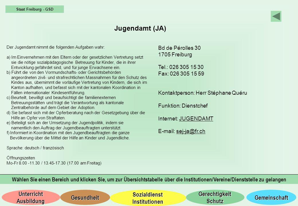 Staat Freiburg - GSD Jugendamt (JA) Der Jugendamt nimmt die folgenden Aufgaben wahr: