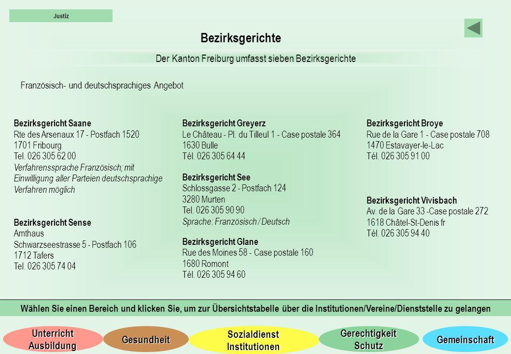 Bezirksgerichte Der Kanton Freiburg umfasst sieben Bezirksgerichte