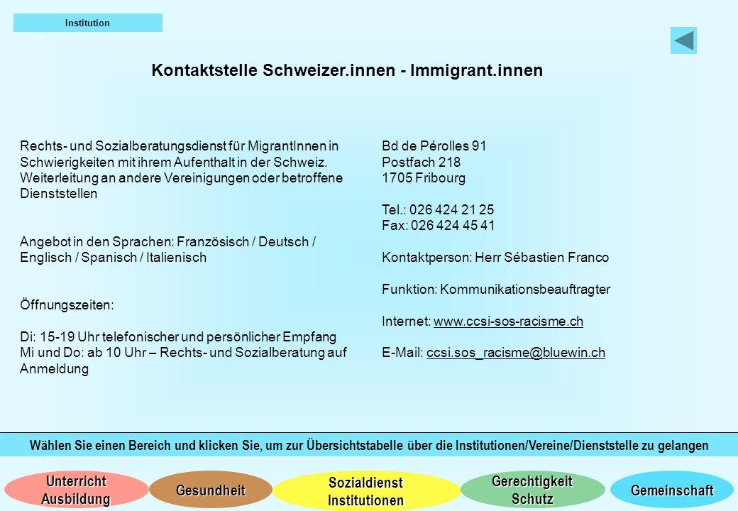 Kontaktstelle Schweizer.innen - Immigrant.innen