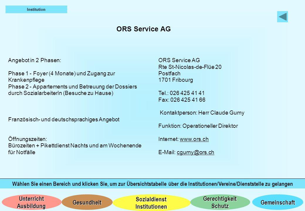 Institution ORS Service AG. Angebot in 2 Phasen: Phase 1 - Foyer (4 Monate) und Zugang zur Krankenpflege.