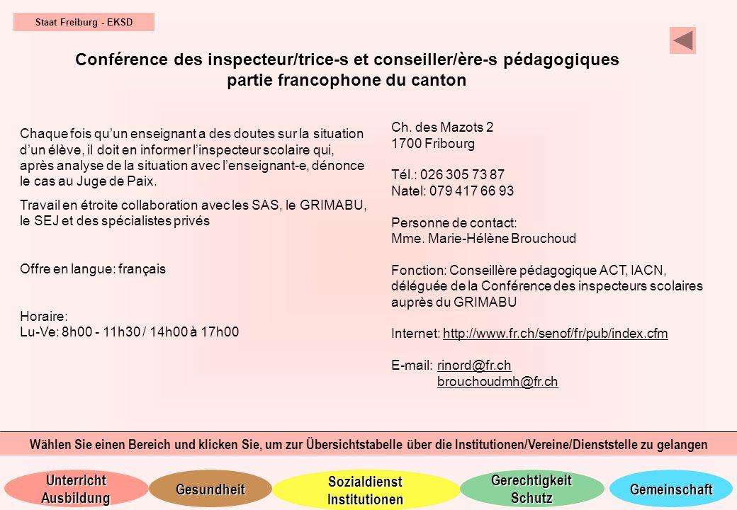 Staat Freiburg - EKSD Conférence des inspecteur/trice-s et conseiller/ère-s pédagogiques partie francophone du canton.