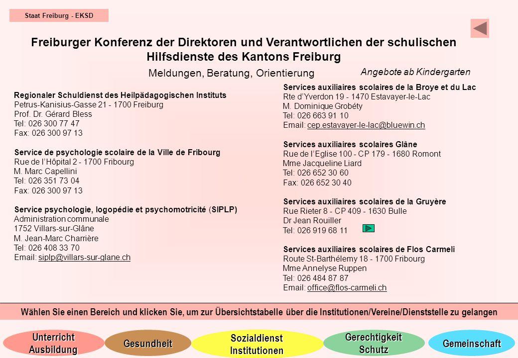 Staat Freiburg - EKSD Freiburger Konferenz der Direktoren und Verantwortlichen der schulischen Hilfsdienste des Kantons Freiburg.