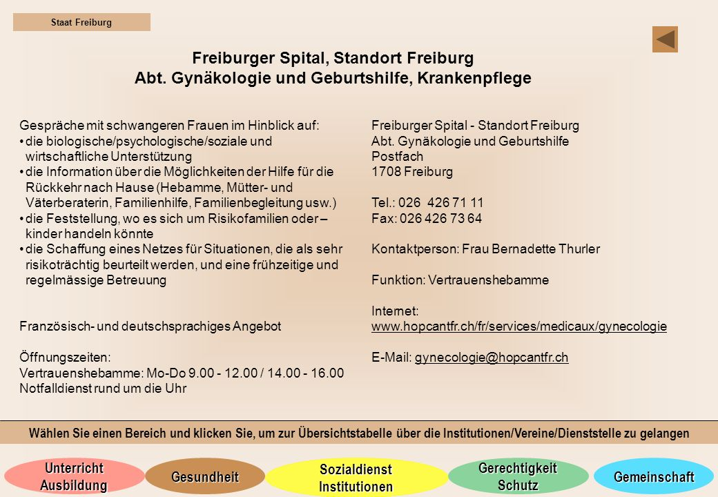 Freiburger Spital, Standort Freiburg