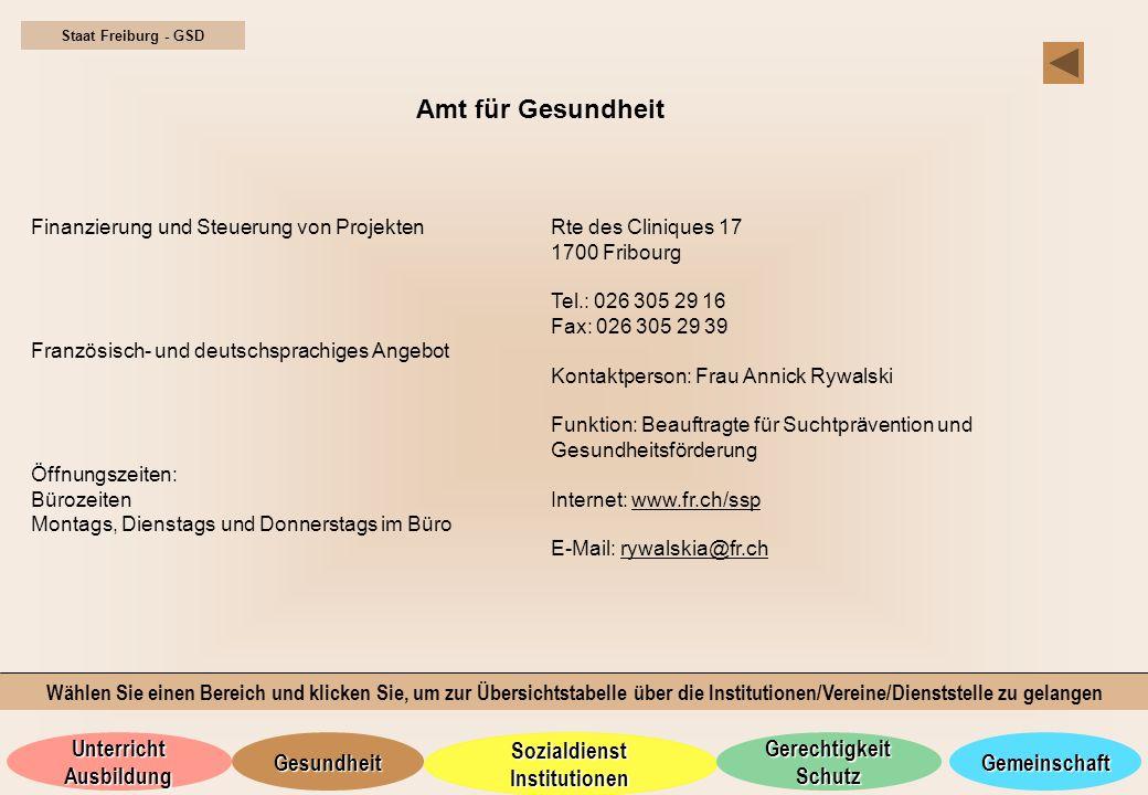 Staat Freiburg - GSD Amt für Gesundheit. Finanzierung und Steuerung von Projekten. Französisch- und deutschsprachiges Angebot.