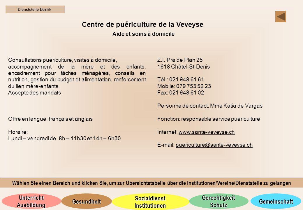 Centre de puériculture de la Veveyse Aide et soins à domicile