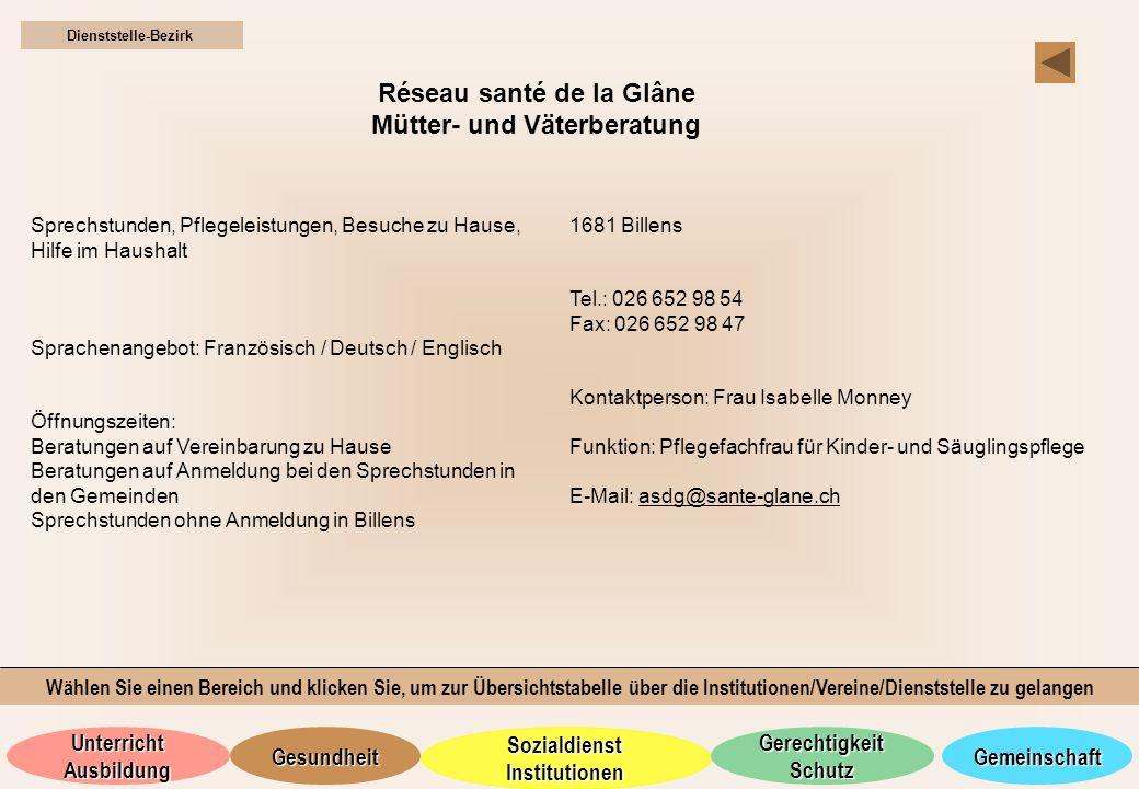Réseau santé de la Glâne Mütter- und Väterberatung