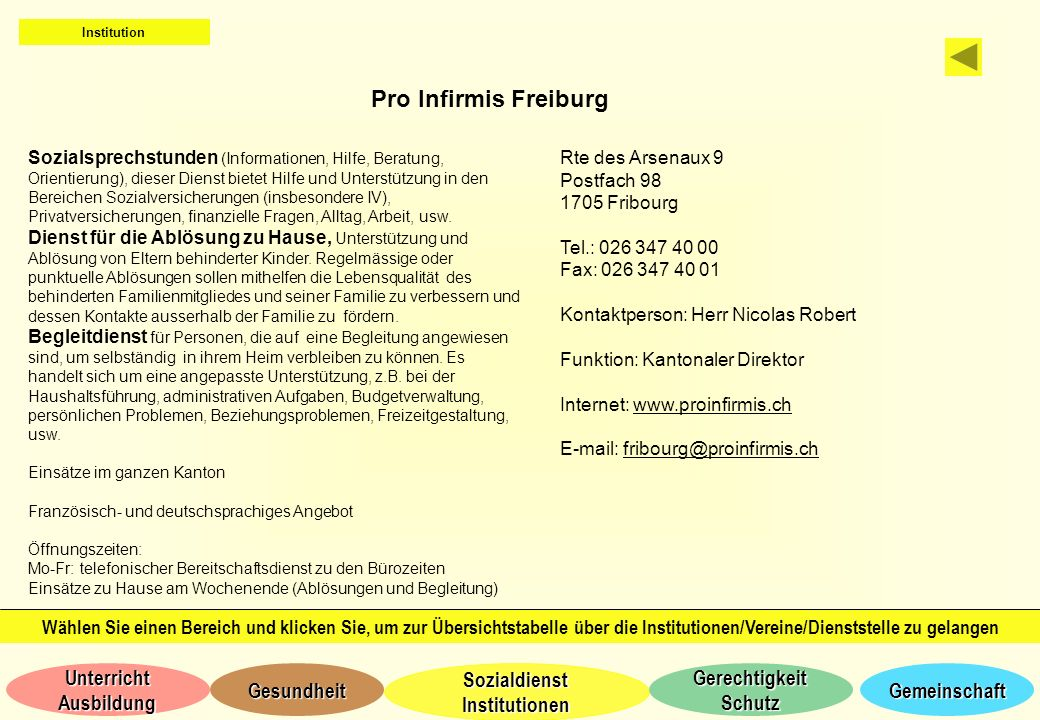 Institution Pro Infirmis Freiburg.