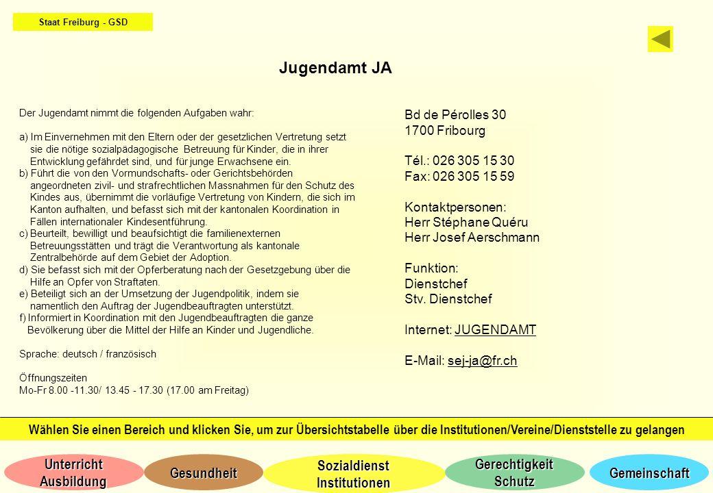 Staat Freiburg - GSD Jugendamt JA. Der Jugendamt nimmt die folgenden Aufgaben wahr: