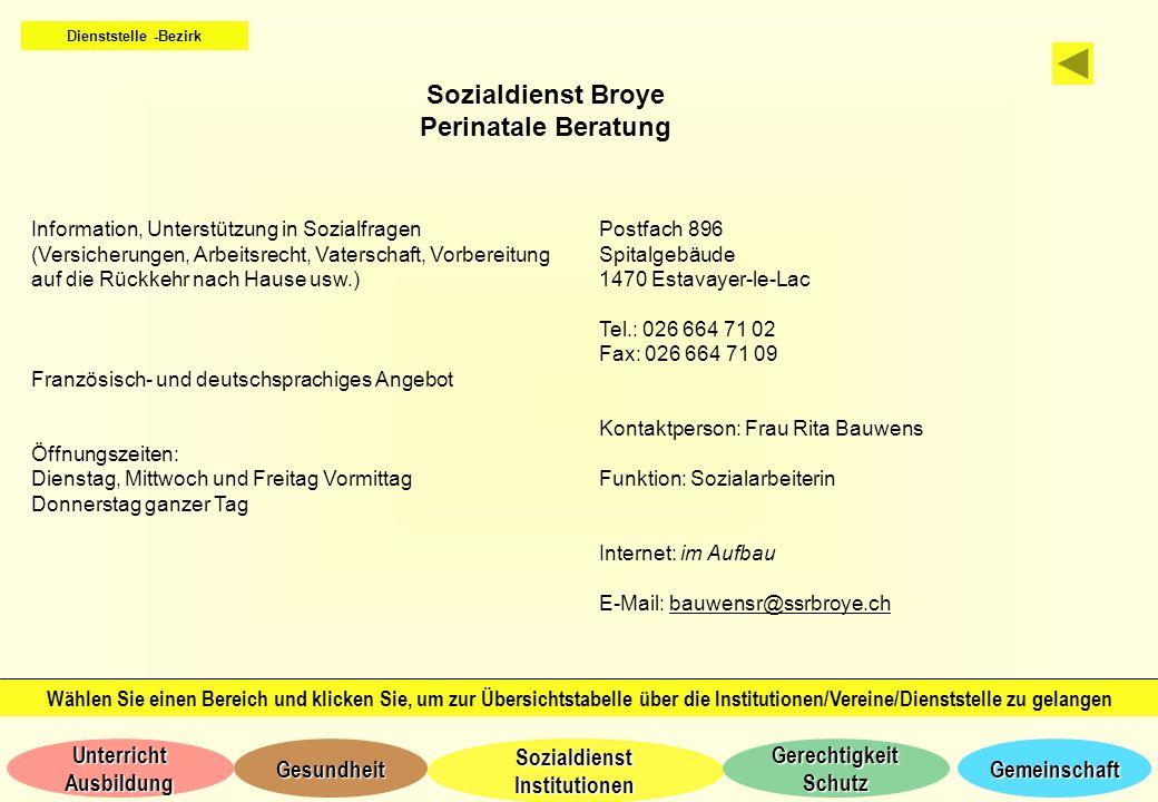 Sozialdienst Broye Perinatale Beratung
