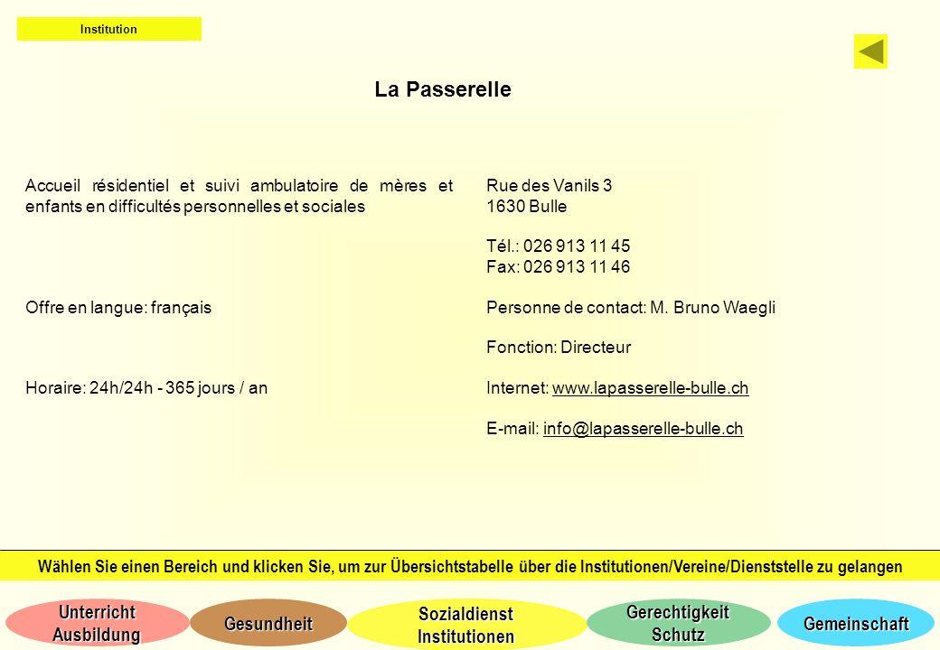 Institution La Passerelle. Accueil résidentiel et suivi ambulatoire de mères et enfants en difficultés personnelles et sociales.