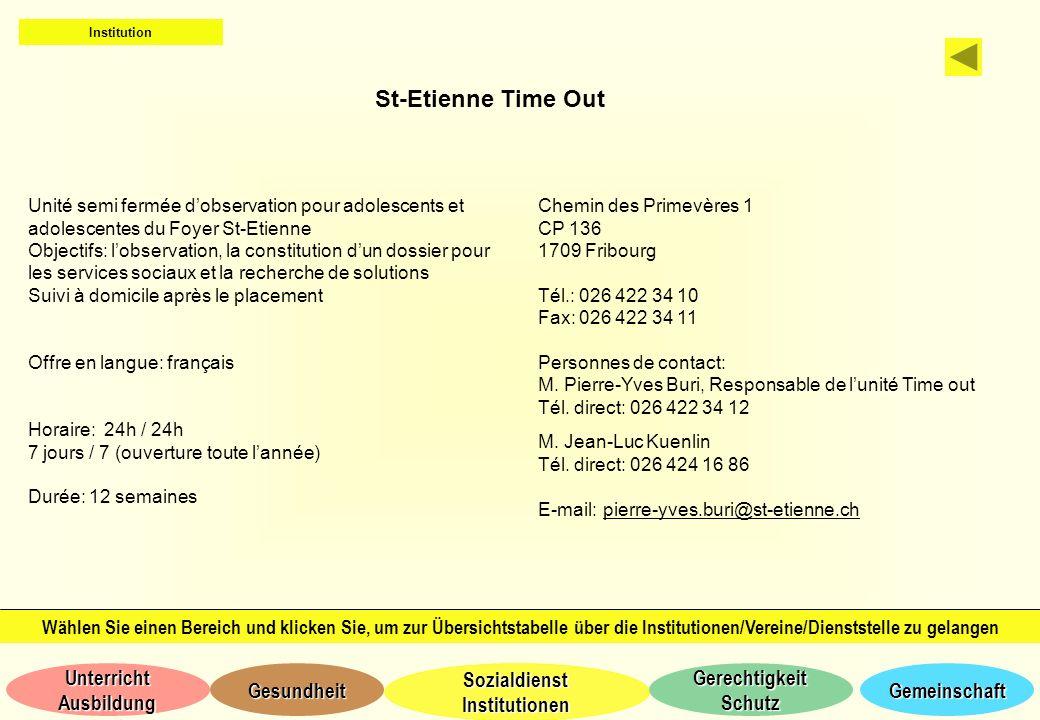 Institution St-Etienne Time Out. Unité semi fermée d'observation pour adolescents et adolescentes du Foyer St-Etienne.