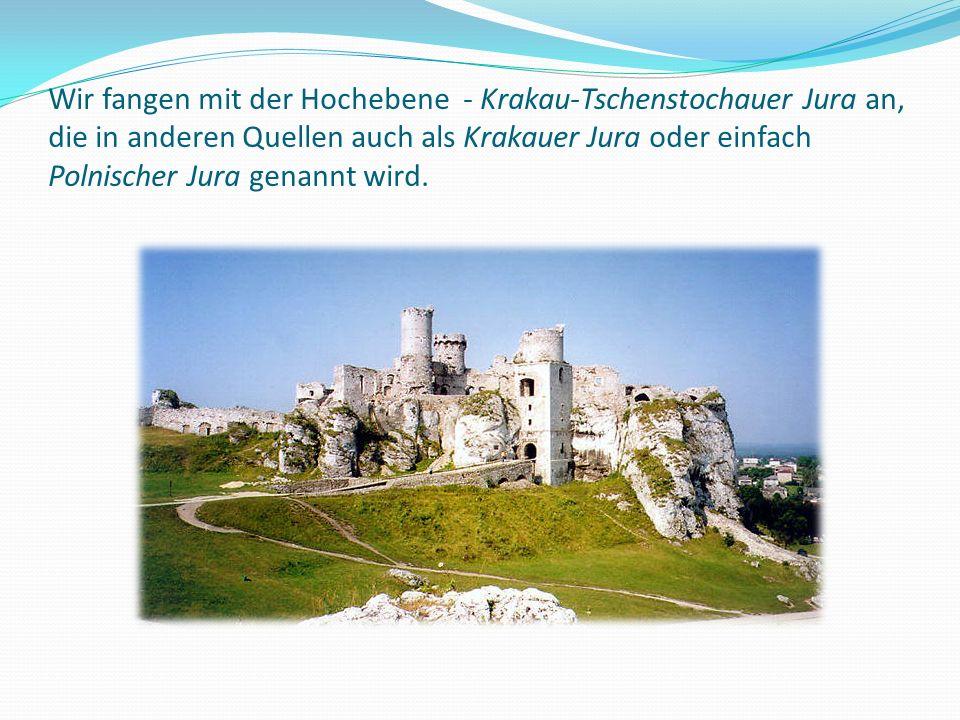 Wir fangen mit der Hochebene - Krakau-Tschenstochauer Jura an, die in anderen Quellen auch als Krakauer Jura oder einfach Polnischer Jura genannt wird.