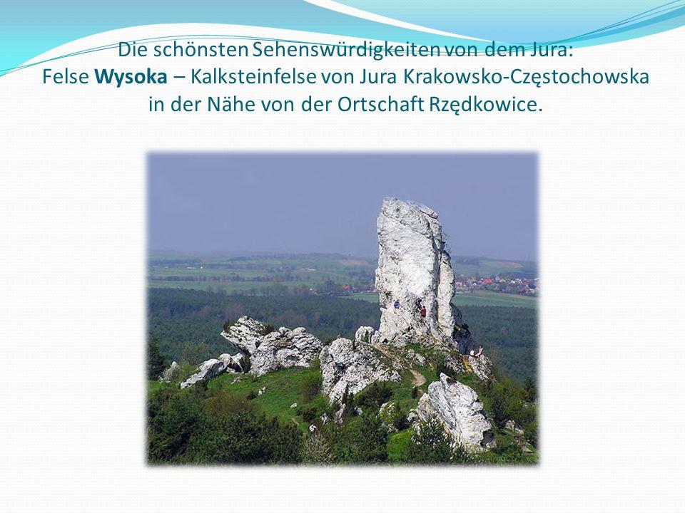 Die schönsten Sehenswürdigkeiten von dem Jura: Felse Wysoka – Kalksteinfelse von Jura Krakowsko-Częstochowska in der Nähe von der Ortschaft Rzędkowice.