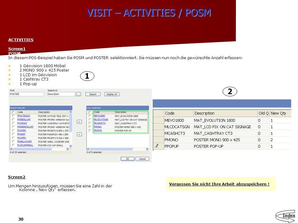 VISIT – ACTIVITIES / POSM