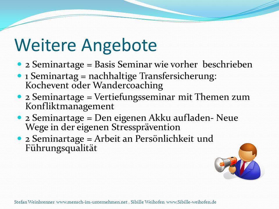 Weitere Angebote 2 Seminartage = Basis Seminar wie vorher beschrieben