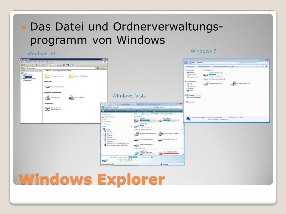 Windows Explorer Das Datei und Ordnerverwaltungs- programm von Windows