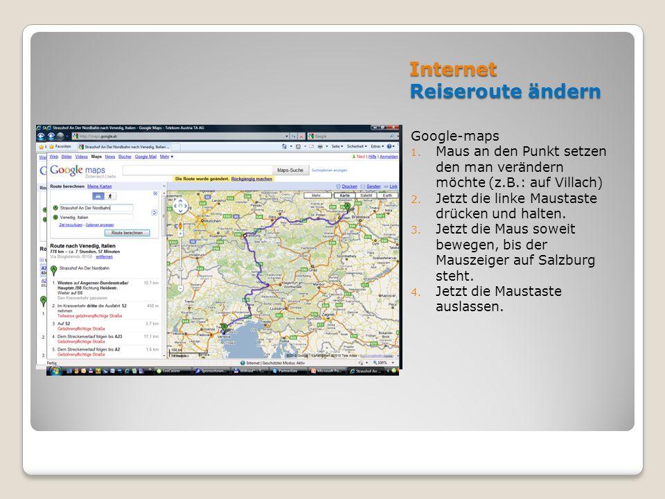 Internet Reiseroute ändern