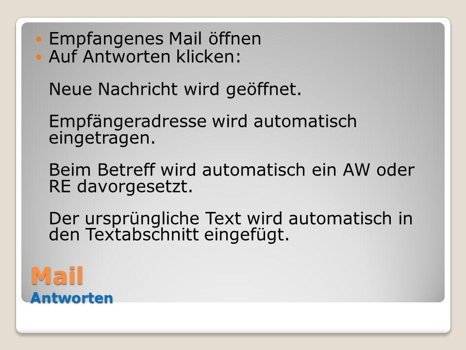 Mail Antworten Empfangenes Mail öffnen