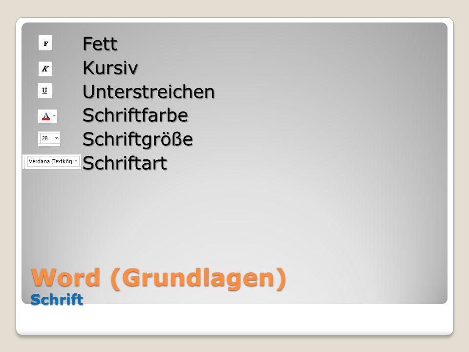 Word (Grundlagen) Schrift