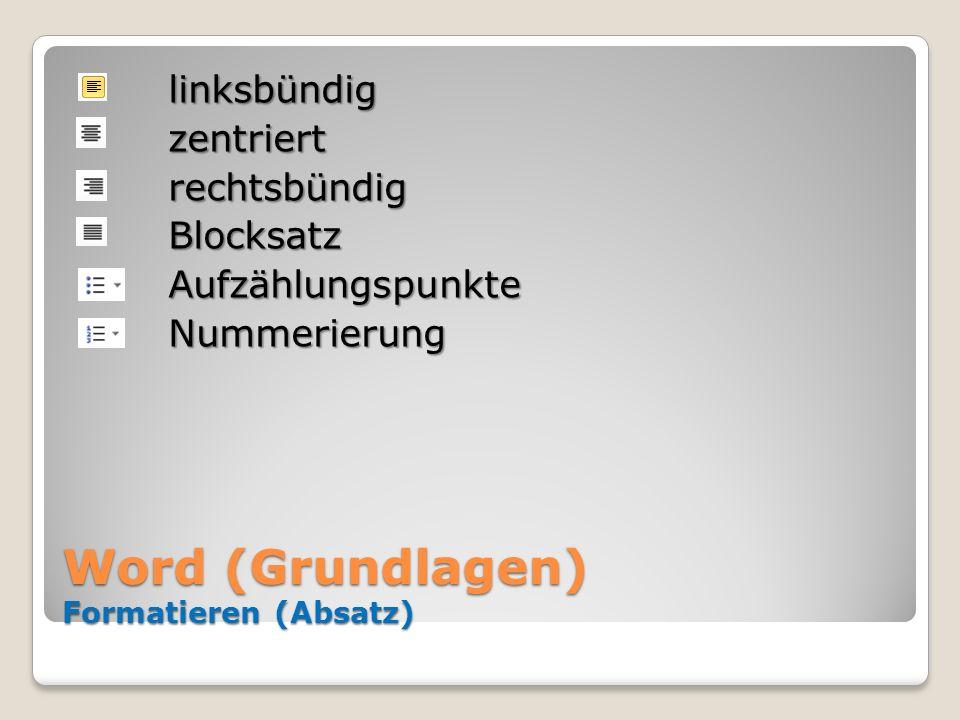 Word (Grundlagen) Formatieren (Absatz)