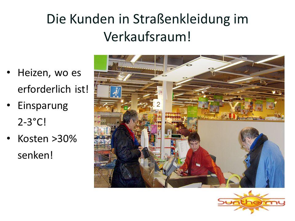 Die Kunden in Straßenkleidung im Verkaufsraum!