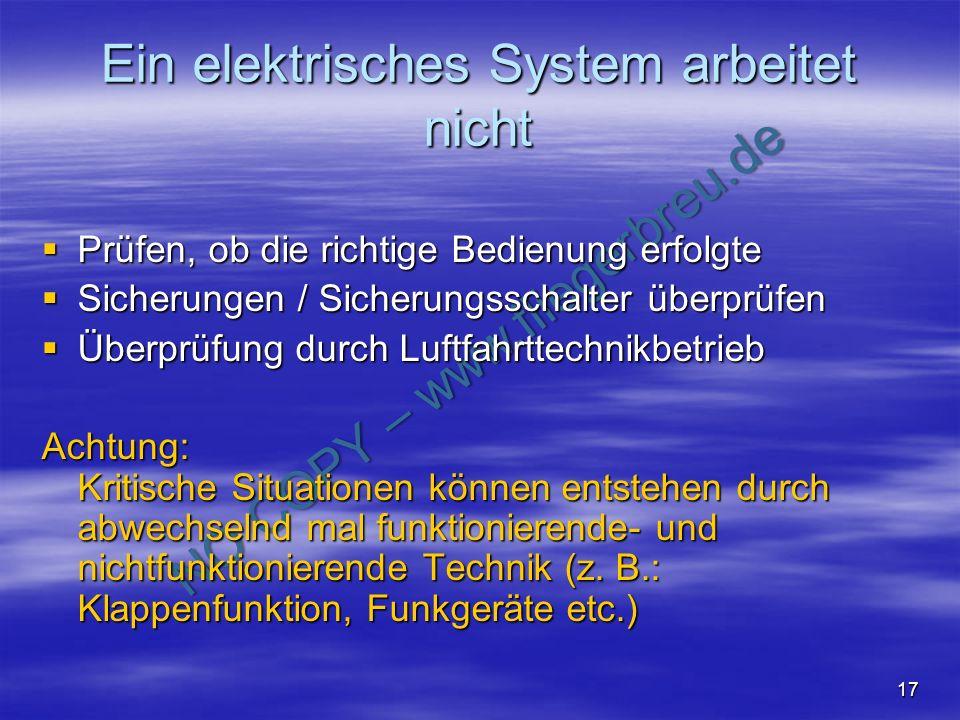 Ein elektrisches System arbeitet nicht
