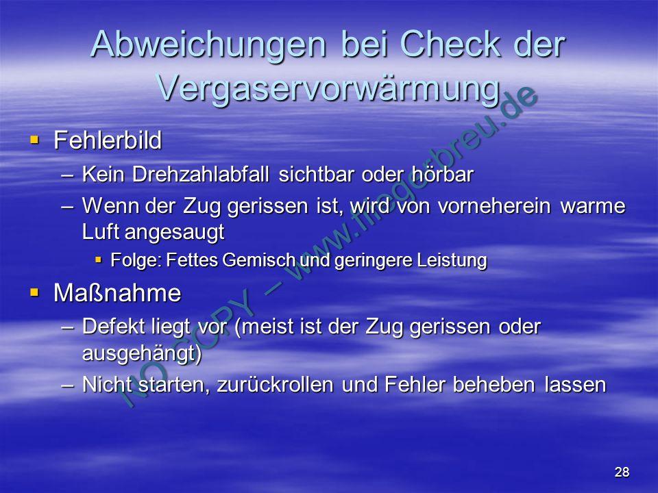 Abweichungen bei Check der Vergaservorwärmung