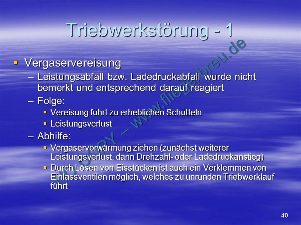 Triebwerkstörung - 1 Vergaservereisung