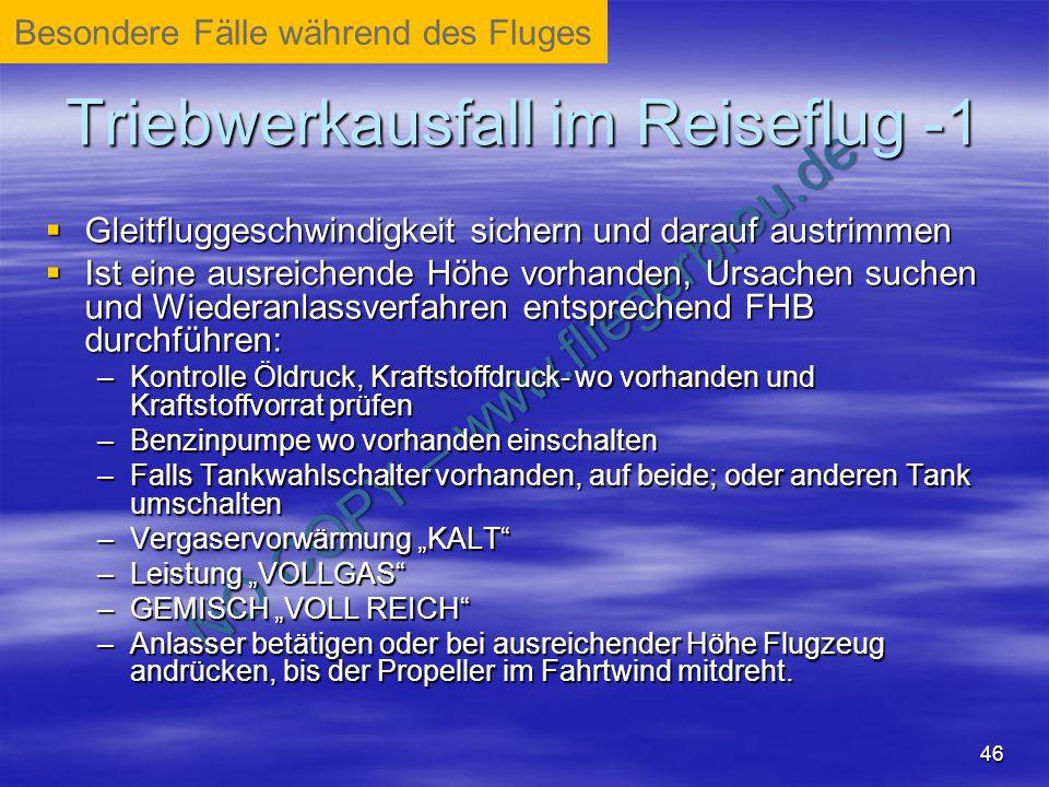 Triebwerkausfall im Reiseflug -1