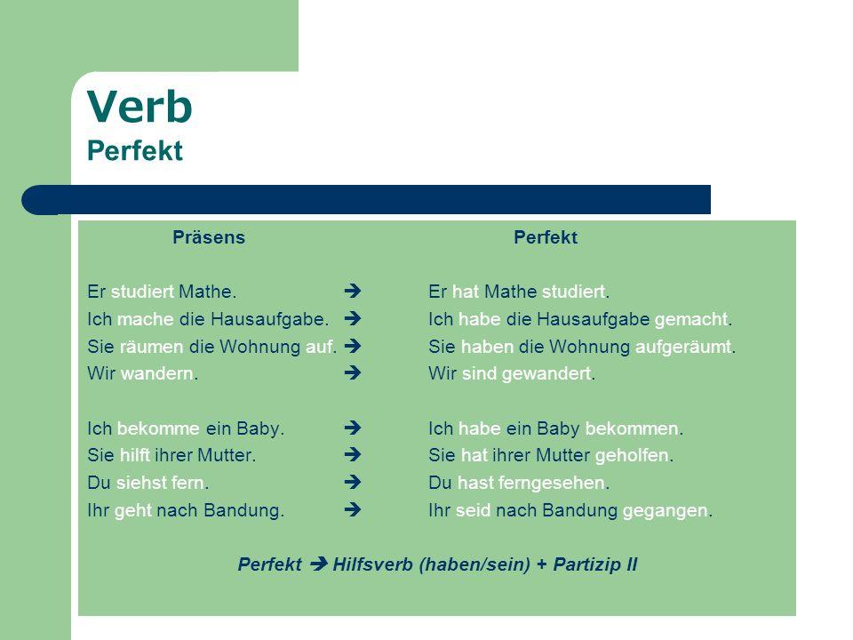 Perfekt  Hilfsverb (haben/sein) + Partizip II